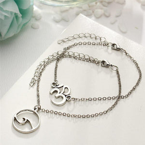 OM & Wave Symbol Anklet Set