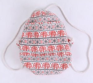 Orange Elephant Drawstring Backpack Bags