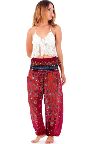 Orange Spice Plume Peacock Harem Pants Harem Pants