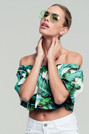 Palm print off shoulder ruffled crop top in green Women - Apparel - Shirts - Blouses
