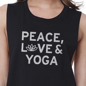 Peace Love Yoga Crop Top Yoga Work Out Tank Top Cute Yoga T-shirt Women - Apparel - Shirts - Sleeveless