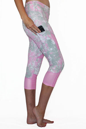 Pink and Gray Marble Moto - Pocket Capri Women - Apparel - Activewear - Leggings