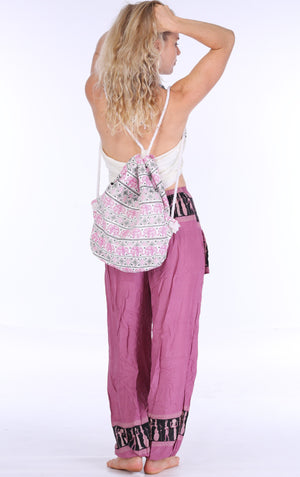 Pink Elephant Drawstring Backpack Bags