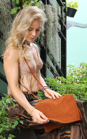 Poppy Suede Envelope Fringe Bag Bags