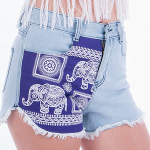 Purple Elephant Denim Shorts Denim Shorts