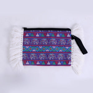 Purple Elephant Fringe Oversized Clutch Bags