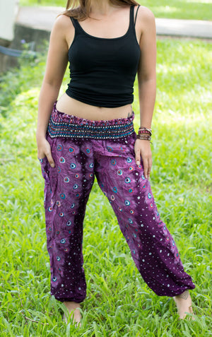 Purple Plume Peacock Harem Pants Harem Pants