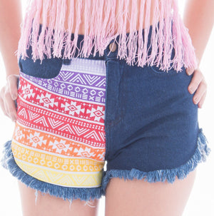 Rainbow Aztec Denim Shorts Denim Shorts