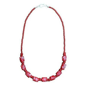 Recycled Glass Marble Necklace in Poppy (GC) Ghanaian Collection