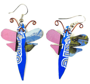 Recycled Tin Dragonfly Earrings Default Title The Takataka Collection