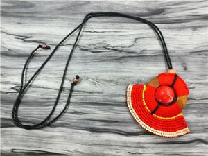 Red Bead Ethnic Bohemian Necklace Red Pendant Necklaces