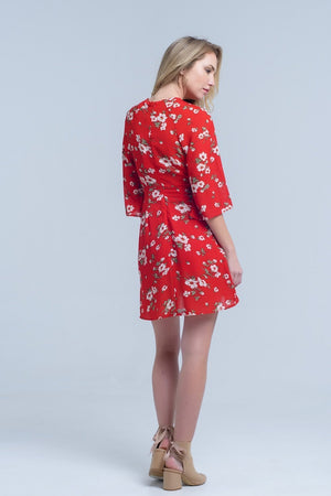 Red Floral Print Midi Dress in Chiffon Women - Apparel - Dresses - Day to Night