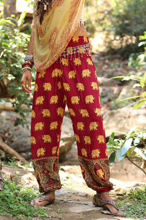 Red Royal Elephant Harem Pants Harem Pants