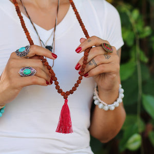 Rudraksha Buddhist Mala Beads Necklace with Red Tassels Women - Jewelry - Necklaces