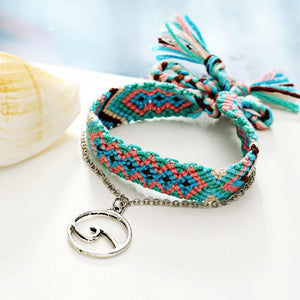 Rune Wave Blue Braided Anklet