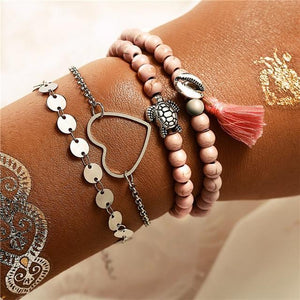 See The World Stacking Bracelets Set FCS1672 / Gold Pulseras de amuleto