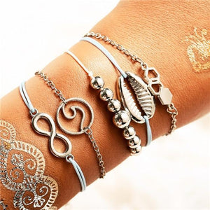 See The World Stacking Bracelets Set FCS1763 / Gold Pulseras de amuleto