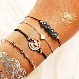 See The World Stacking Bracelets Set FCS1766 / Gold Pulseras de amuleto