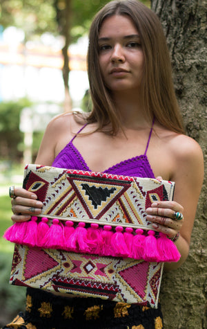Sepia Pink Tassel Oversized Clutch Bags