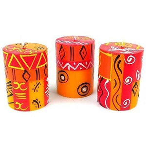 Set of Three Boxed Hand-Painted Candles - Zahabu Design (GC) Candles