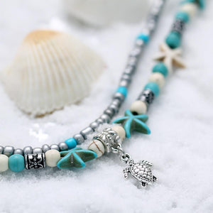 Shell Beads Starfish Turtle Anklet