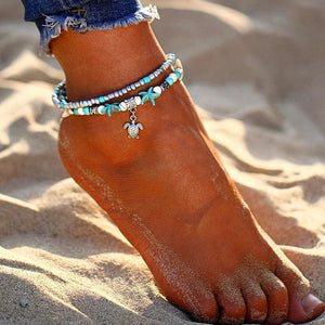 Shell Beads Starfish Turtle Anklet Blue