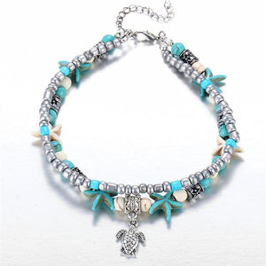 Shell Beads Starfish Turtle Anklet Default Title