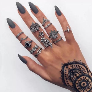 Silver 12-pc Boho Midi Ring Set with Hamsa & Lotus Silver Anillos