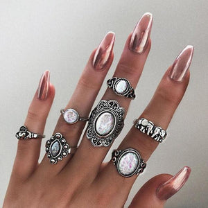 Silver elephant ring set Silver Anillos