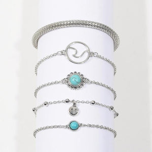 Silver & Gold Layered Adjustable Boho Bracelet 1 / Silver Charm Bracelets
