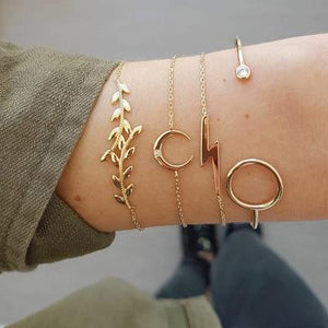 Silver & Gold Layered Adjustable Boho Bracelet 12 / Gold Charm Bracelets