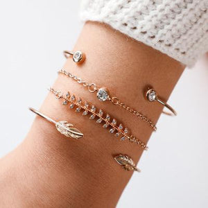 Silver & Gold Layered Adjustable Boho Bracelet 14 / Silver Charm Bracelets