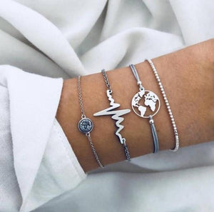 Silver & Gold Layered Adjustable Boho Bracelet 16 / Silver Charm Bracelets