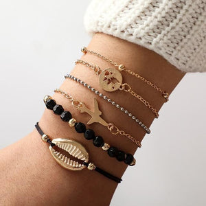 Silver & Gold Layered Adjustable Boho Bracelet 17 / Silver Charm Bracelets
