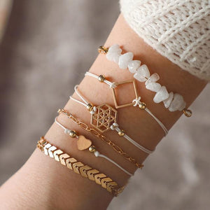 Silver & Gold Layered Adjustable Boho Bracelet 18 / Silver Charm Bracelets