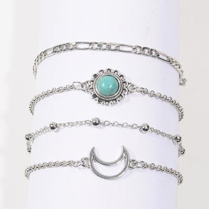 Silver & Gold Layered Adjustable Boho Bracelet 2 / Silver Charm Bracelets