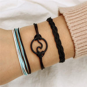 Silver & Gold Layered Adjustable Boho Bracelet 20 / Black Charm Bracelets