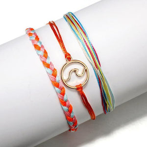 Silver & Gold Layered Adjustable Boho Bracelet 21 / Multicolor Charm Bracelets