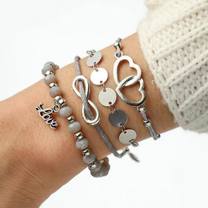 Silver & Gold Layered Adjustable Boho Bracelet 23 / Silver Charm Bracelets