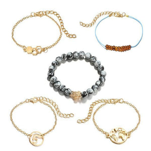 Silver & Gold Layered Adjustable Boho Bracelet 3 / Gold Charm Bracelets