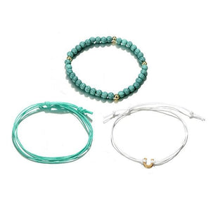 Silver & Gold Layered Adjustable Boho Bracelet 5 / Blue Charm Bracelets