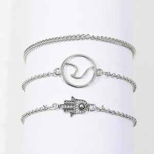 Silver & Gold Layered Adjustable Boho Bracelet 9 / Silver Charm Bracelets