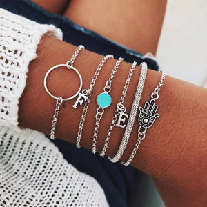 Silver & Gold Layered Adjustable Boho Bracelet Charm Bracelets