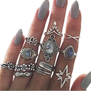 Silver Knuckles Boho Ring Set Silver Anillos