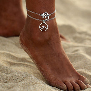 Silver Stacked Om & Wave Charm Boho Anklet