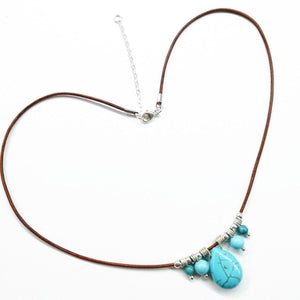 Silver Turquoise Drop Bead Charm Leather Necklace 16-18 inches Women - Jewelry - Necklaces