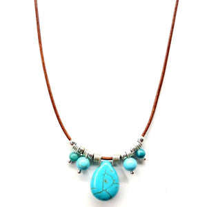 Silver Turquoise Drop Bead Charm Leather Necklace Women - Jewelry - Necklaces