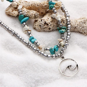 Silver Wave Charm Adjustable Beads Anklet