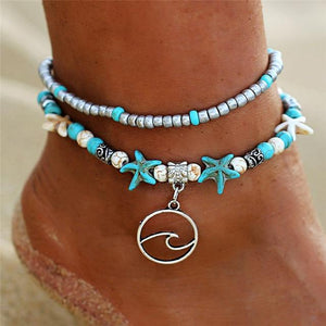 Silver Wave Charm Adjustable Beads Anklet FDY193 Starfish