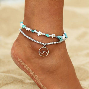 Silver Wave Charm Adjustable Beads Anklet FDY496 Stone